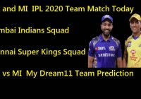 CSK and MI IPL 2020 Team Match Today
