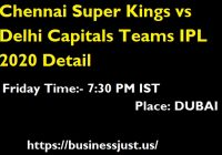 Chennai Super Kings vs Delhi Capitals Teams IPL 2020