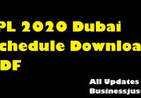 IPL 2020 Dubai Schedule Download PDF