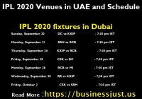 IPL 2020 Venues in UAE and Schedule