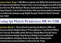 Today IPL Match Prediction RR Vs CSK